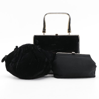 Patent Leather Frame Purse with Chiffon and Velveteen Evening Bags in Black