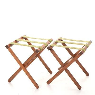 Pair of Walnut-Stained Folding X-Form Luggage Racks, Mid to Late 20th Century