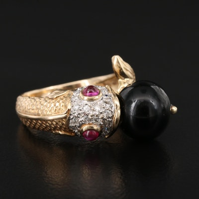 14K Black Onyx, Ruby and Diamond Fish Ring