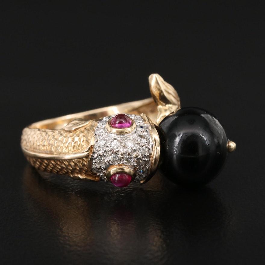 14K Black Onyx, Ruby and Diamond Fish Ring