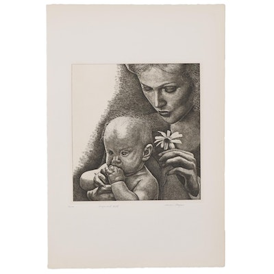 "Marvin Hayes Biblical Copperplate Etching ""Virgin and Child,"" 1976"