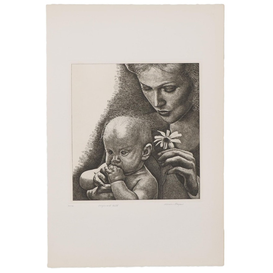 """Marvin Hayes Biblical Copperplate Etching """"Virgin and Child,"""" 1976"""