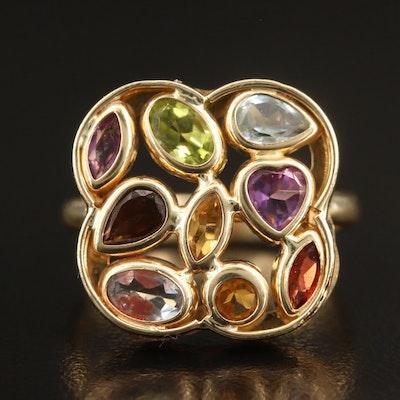 14K Gemstone Cluster Ring
