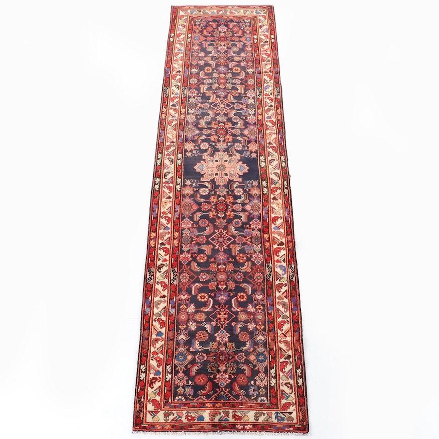 3'7 x 13'7 Hand-Knotted Persian Hamadan Wool Long Rug
