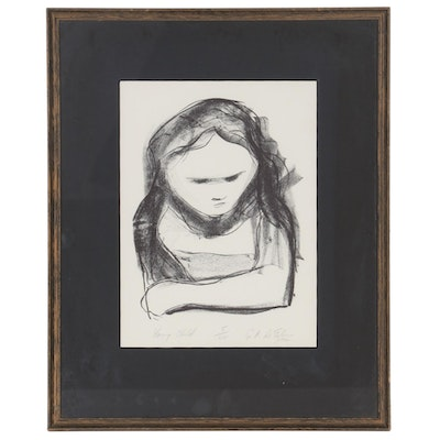 "Figural Lithograph ""Young Child,"" 1970"