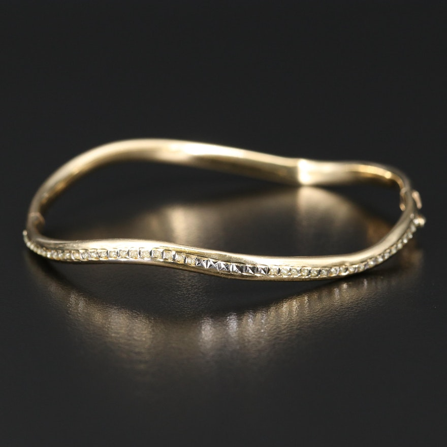 14K Contour Hinged Bangle