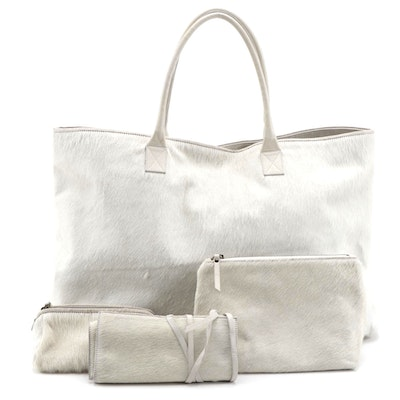White Pony Hair Tote with Toiletry Bag, Accessories Pouch, and Jewelry Roll