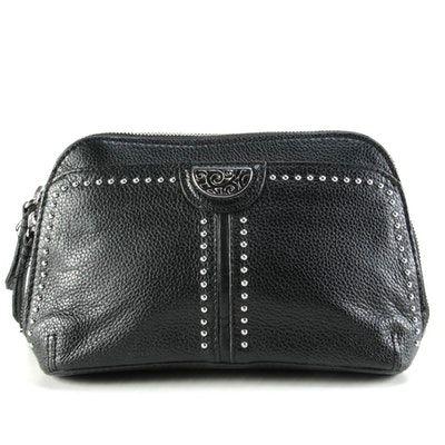 Brighton Pretty Tough Collection Black Leather Downtown Organizer Crossbody Bag