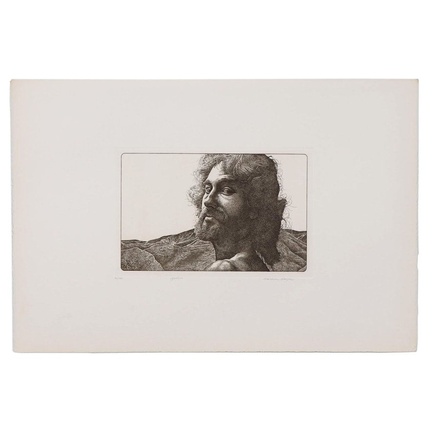 "Marvin Hayes Biblical Copperplate Etching ""John,"" 1976"