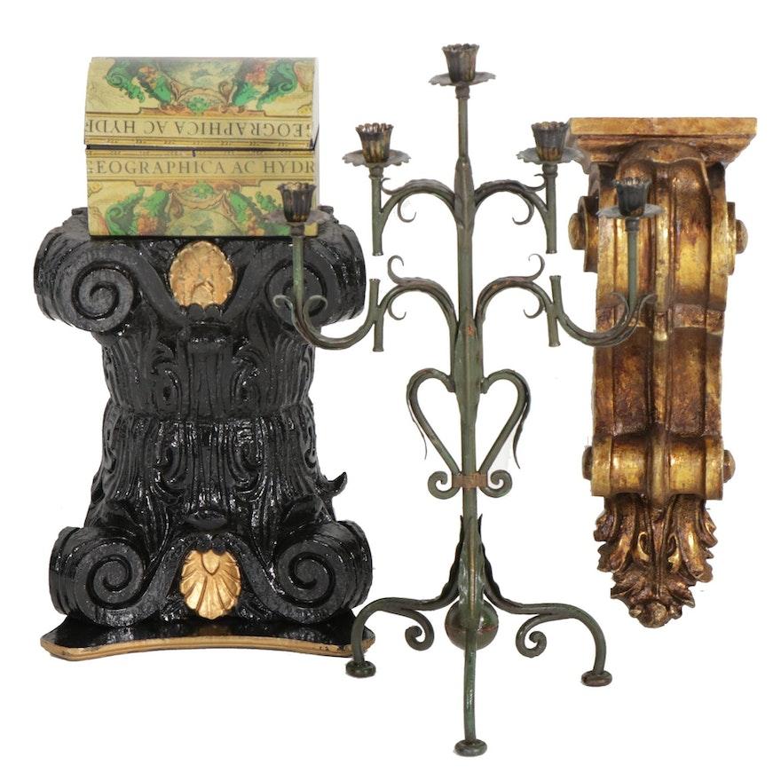 Columnar Wood Stand, Composite Corbel, Metal Candelabrum and Box
