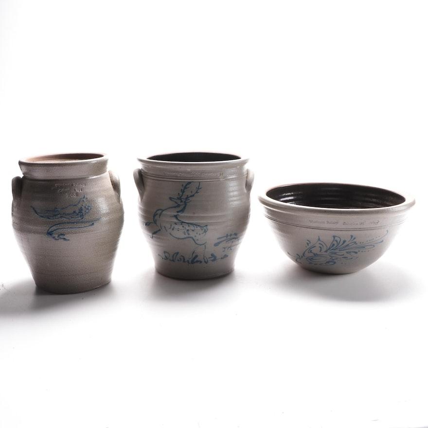 Wisconsin Pottery Salt Glaze Stoneware Crocks and Bowl, 1985