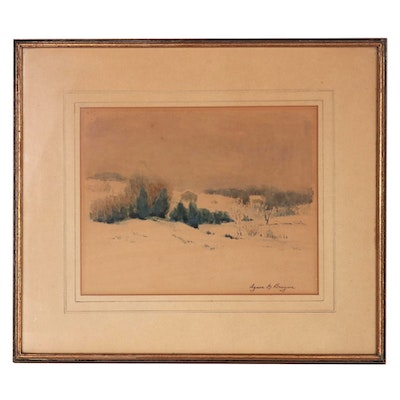 Agnes M. Bruynz Winter Landscape Watercolor Painting, Late 19th Century