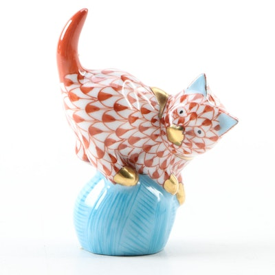 "Herend Rust Fishnet ""Mischievious Cat on Yarn"" Porcelain Figurine"