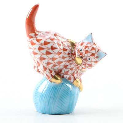 "Herend Rust Fishnet ""Mischievious Cat on Yarn"" Porcelain Figurine"