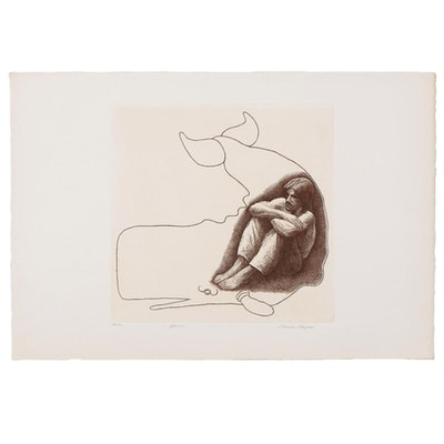 "Marvin Hayes Biblical Copperplate Etching ""Jonah,"" 1976"