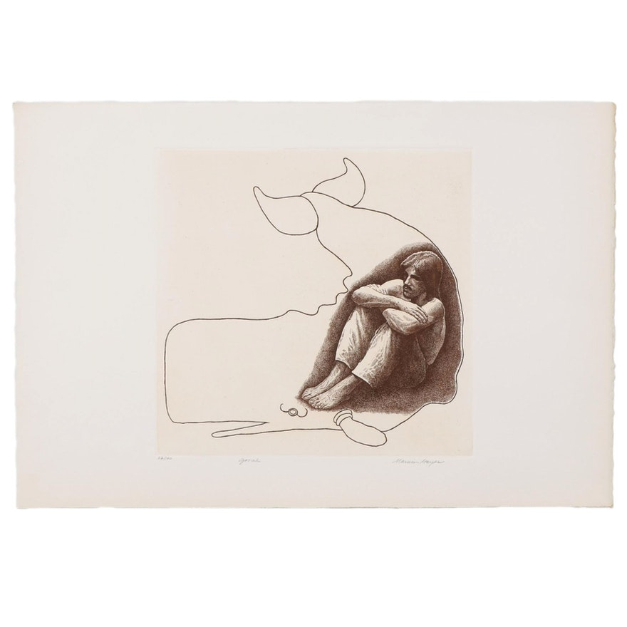 """Marvin Hayes Biblical Copperplate Etching """"Jonah,"""" 1976"""