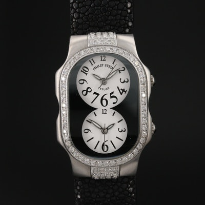 Philip Stein Teslar 1.50 CTW Diamond Double Dial Wristwatch