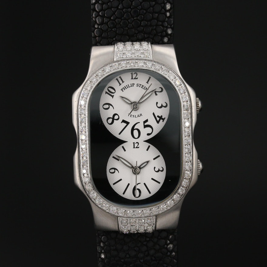 Philip Stein Teslar 1.50 CTW Diamond Double Dial Wristwatch