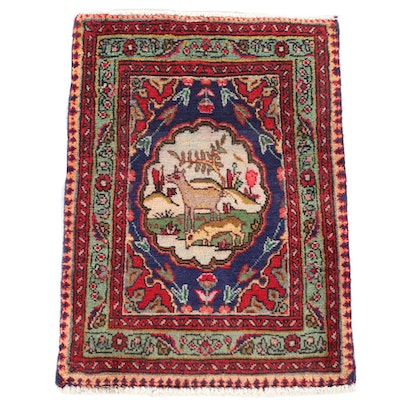 1'10 x 2'6 Hand-Knotted Persian Tabriz Pictorial Wool Accent Rug