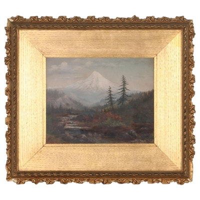 Landscape Oil Painting of Mountain Valley, Early 20th Century