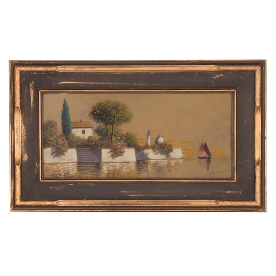 F.D. Ward Gouache Painting of Waterfront House, Early 20th Century