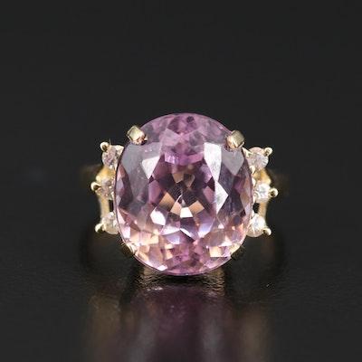 14K Kunzite and Sapphire Ring