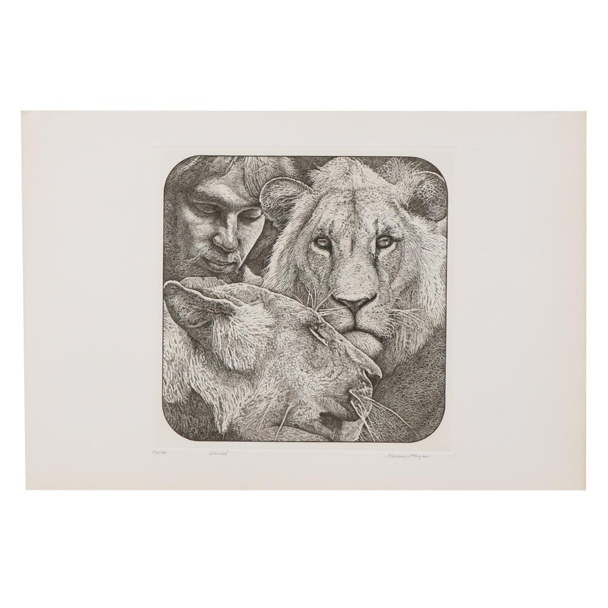 "Marvin Hayes Biblical Etching ""Daniel,"" 1976"