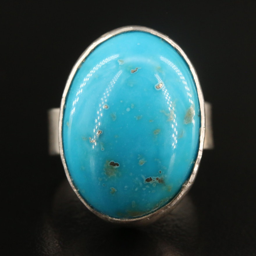 Sterling Silver Bezel Set Turquoise Ring