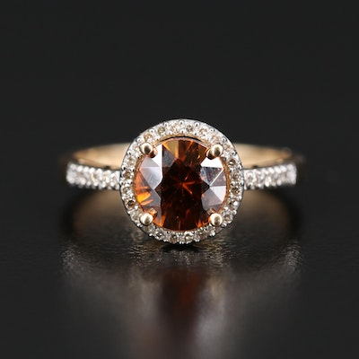 14K Zircon and Diamond Ring