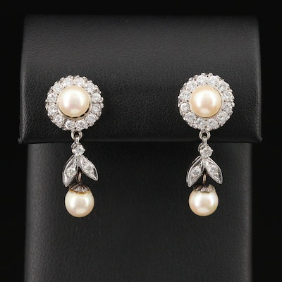 1950s 14K Pearl and 1.05 CTW Diamond Drop Earrings