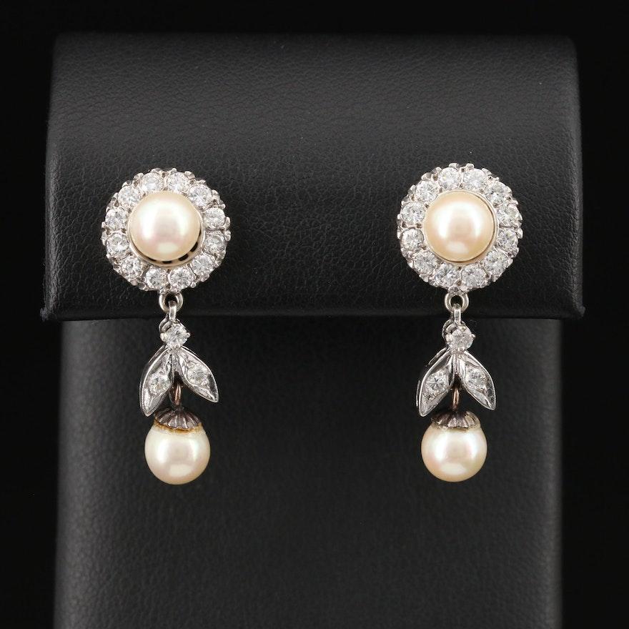1950s 14K Pearl and 1.05 CTW Diamond Drop Earrings
