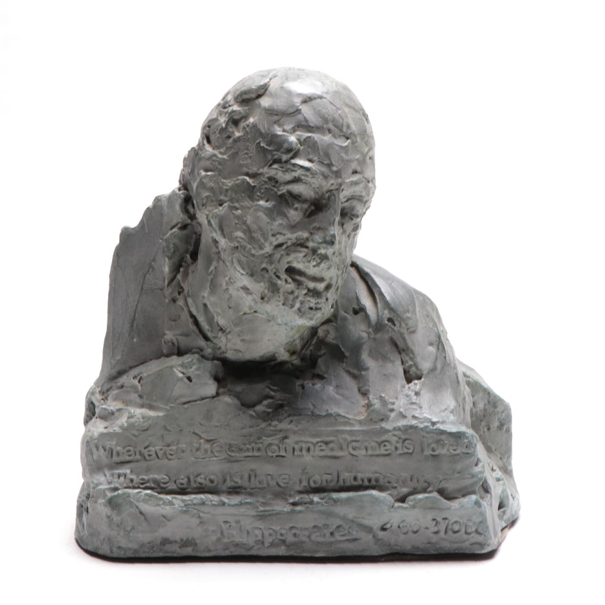 Doris Appel Cast Composite Bust of Hippocrates, Mid-20th Century