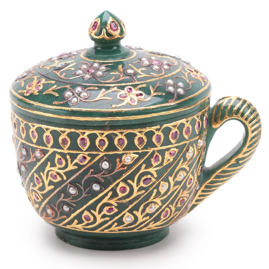 Mughal Style Carved Aventurine Lidded Cup with Ruby, Diamond, and Pearl Inlays