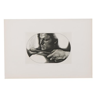 "Marvin Hayes Biblical Copperplate Etching ""The Calling of Isaiah,"" 1976"