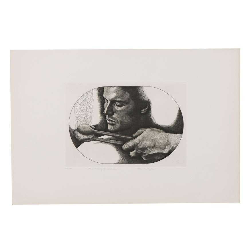 """Marvin Hayes Biblical Copperplate Etching """"The Calling of Isaiah,"""" 1976"""