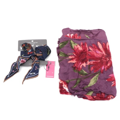 INC International Concepts Floral Scarf and Vince Camuto Silk Printed Bow