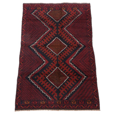 2'11 x 4'7 Hand-Knotted Afghan Tribal Balouch Wool Rug