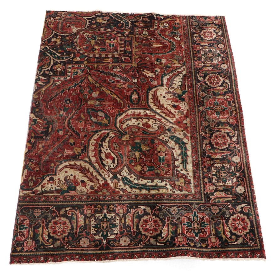 4'10 x 6'7 Hand-Knotted Persian Heriz Wool Rug