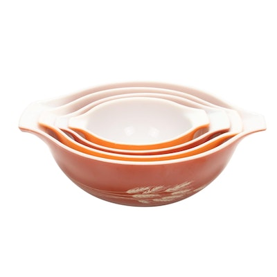 "Pyrex ""Autumn Harvest"" Glass Ovenware Bowl Set, ​1979–1986"