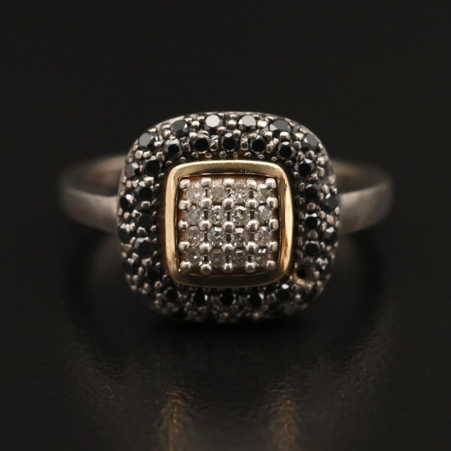 Sterling Silver Diamond Ring with 14K Bezel