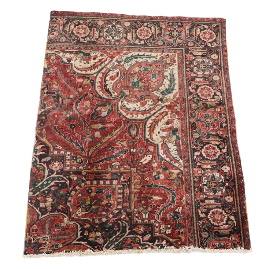 4'8 x 6'7 Hand-Knotted Persian Heriz Wool Rug