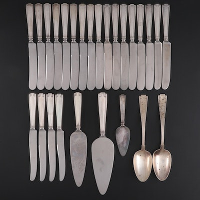 "Gorham ""Etruscan"" Sterling Silver Dinner Knives and Serving Utensils"
