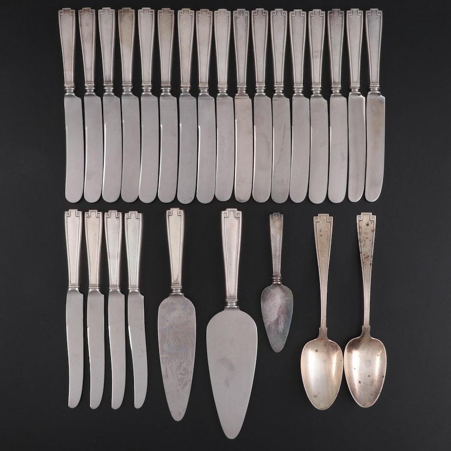 "Gorham ""Etruscan"" Sterling Silver Dinner Knives and Serving Utensils"