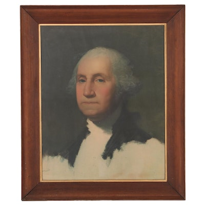 "Offset Lithograph after Gilbert Stuart of George Washington ""The Anthenaeum"""