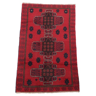 2'8 x 4'7 Hand-Knotted Afghan Tribal Balouch Wool Rug