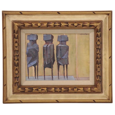Kevin Yuen Oil Painting of Abstract Anthropomorphic Forms, 21st Century