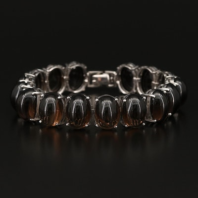 Sterling Oval Smoky Quartz Cabochon Bracelet