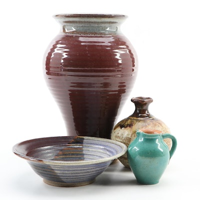 Wheel Thrown Pottery Vases, Bowl and Creamer