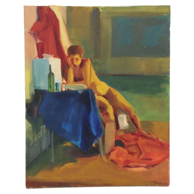Sarah Buck Expressionist Style Oil Painting of Seated Figure, 1996