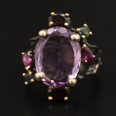 Sterling Silver Amethyst, Garnet and Sapphire Ring